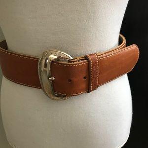Ann Taylor Tan Belt/Silver Buckle Medium
